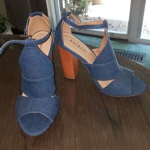 Navy blue Jean High Heels Bamboo